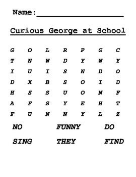 Word Search for Curious George at School Journeys Grade