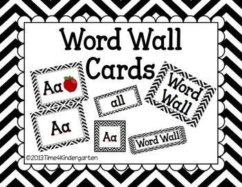 Word Wall Cards Black Chevron- Editable by Time 4