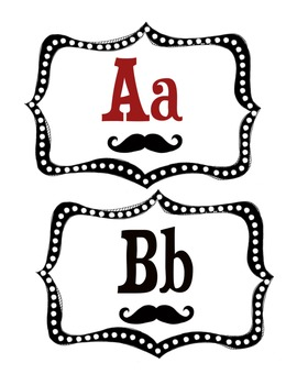 Word Wall Alphabet Headers: Mustache Theme by The