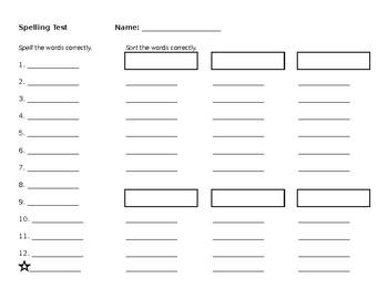 Words Their Way Spelling Test Template by Megan Hochstein