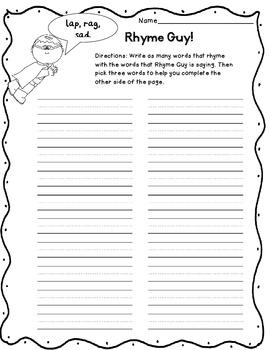 Words their Way First Grade Sentences Rhyming Words Higher