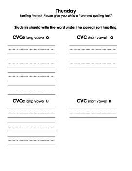 Words their Way Long Vowel 1 Spelling Homework Book by