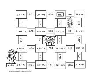 Working with Decimals Mazes (Superhero Theme) by Teaching