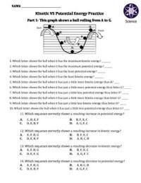 Worksheet: Kinetic Vs Potential Energy by Travis Terry   TpT