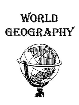 World Geography Binder Cover, World Map, Flags of the
