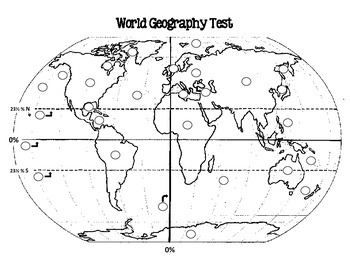 World Geography Test, Pre-Test, and Study Guide by