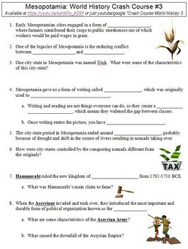 Crash Course World History 3 Mesopotamia Worksheet By