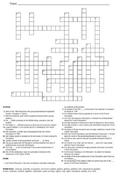 World History Crossword Puzzles: French Revolution