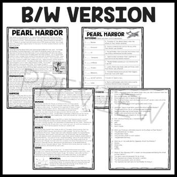 World War 2- Pearl Harbor Reading Comprehension Worksheet