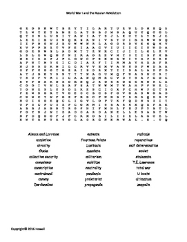 World War I and the Russian Revolution Word Search for