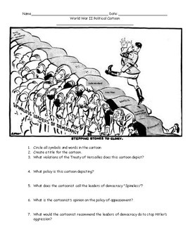 World War II Political Cartoons Worksheet with Answer Key