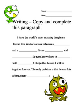 Writing Ad Libs Copy And Complete This Paragraph 1 5