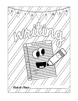 Writing Cover Coloring Page for Notebook by Adventures in