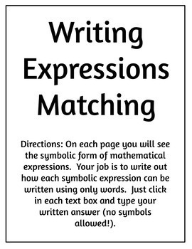Writing Expressions Digital Activity by Resource Room