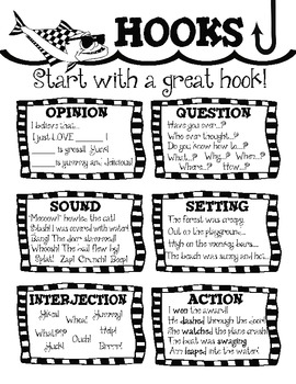 Writing Hooks Leads! ~ 6 Hook Posters and Student Writing