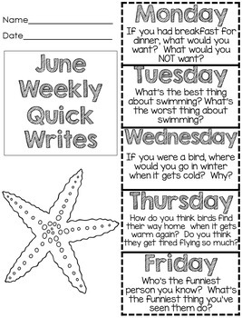 End of Year Activities Quick Writes by First Grade Fun