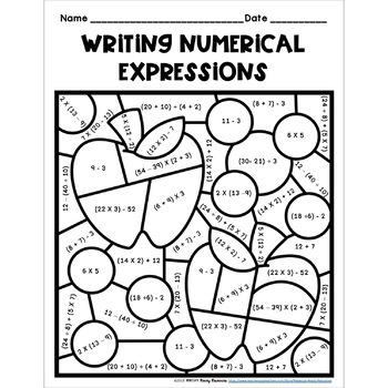 Numerical Expressions 5th Grade: Color by Number-Fall