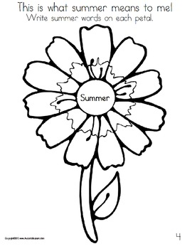 Writing Prompts Journal Kindergarten to First Grade Summer