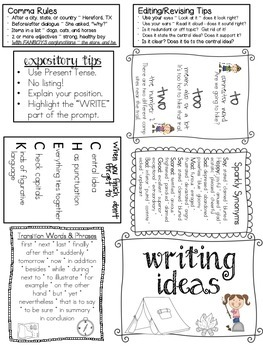 STAAR Writing Study Bits for foldables, flashcards, etc