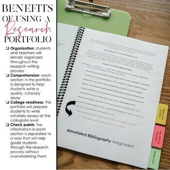 Writing A Research Paper PORTFOLIO Grades 8 12 EDITABLE TpT