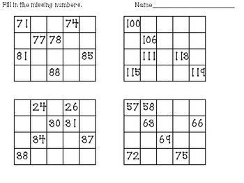 Writing to 120 Number Grid Puzzles by Denise Clinkingbeard