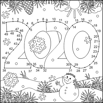 Year 2020 Connect the Dots and Coloring Page, CU and Non