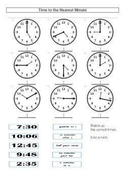 Year 3 Telling the Time Pretest by Education Central Store