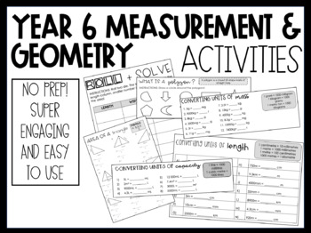 Year 6: Measurement and Geometry Activities by Miss Hannah