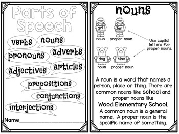 Parts of Speech Printable Reader with Comprehension by