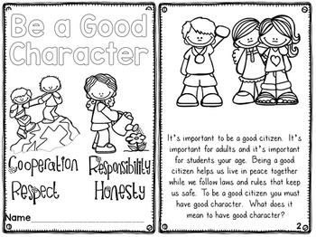 Character Education Printable Readers by First Grade Fun
