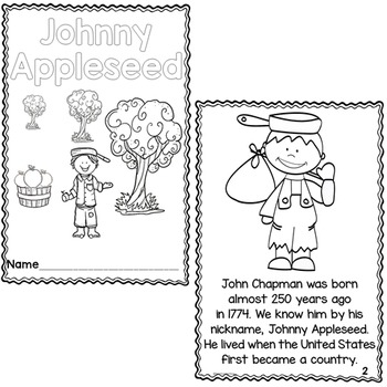 Johnny Appleseed Differentiated Printable Readers by First