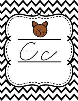 Zaner Bloser Cursive Alphabet {Black & White Chevron Theme