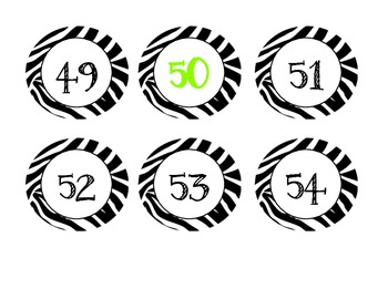 Zebra Numbers 1-100, Counting by 5's and 10's (Calendar