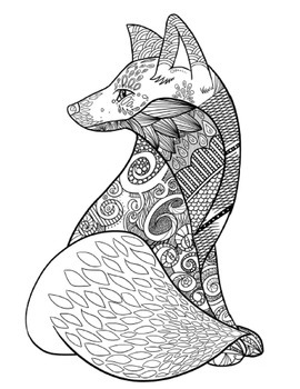 Zentangle Coloring Pages: 8 Calming Animals Mindfulness