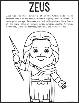 Zeus, Greek Mythology Informational Text Coloring Page
