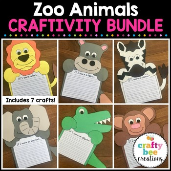 Zoo Animals Craft Bundle Zoo Animal Writing Prompts By Crafty Bee Creations