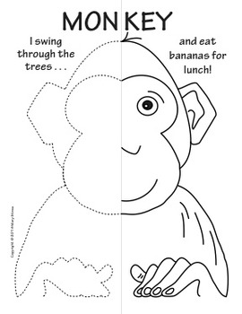Zoo Animals Symmetry Activity Coloring Pages by Mary Straw