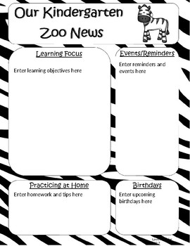 Zoo or Jungle Themed KINDERGARTEN ONLY Newsletter Template