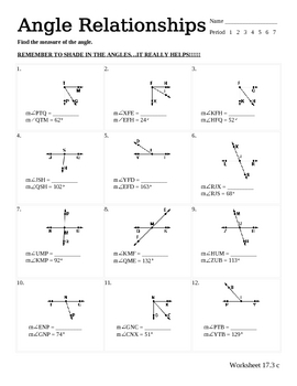 Angle Relationships Worksheet Answer Key : angle, relationships, worksheet, answer, Angle, Relationships, Worksheet, Answers, Project