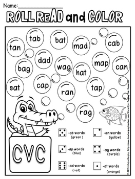 cvc words roll read color (or cover ) by Eye Popping Fun