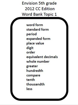 enVision Math 5th Grade Vocabulary Activities Full Year