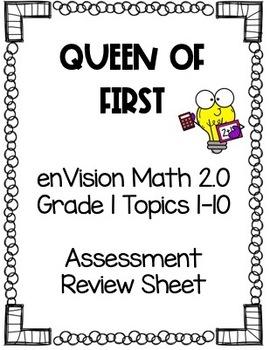enVision Math 2.0 Grade 1 TOPICS 1-10 Assessment Review