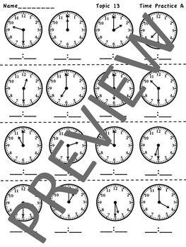 enVision Math 2.0 Topic 13 Telling Time Grade 1 Practice