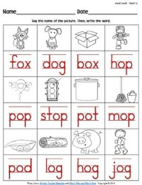 iWorksheets Short 'o' Vowel Sound Worksheets