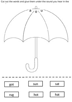 Cvc Cut Paste Worksheets Phonics Cards And For