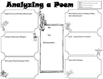 Middle School Poetry Worksheet
