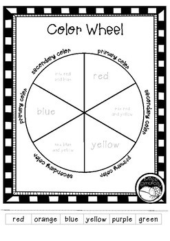 print & paint color wheel template (primary & secondary