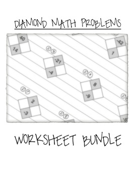 Math Diamond Problems Worksheet Bundle (Factoring