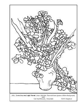 van Gogh. Still Life: Irises. Coloring page and lesson
