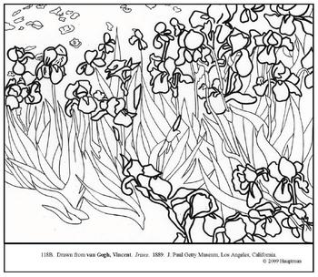 van Gogh, Vincent. Irises. Coloring page and lesson plan ideas